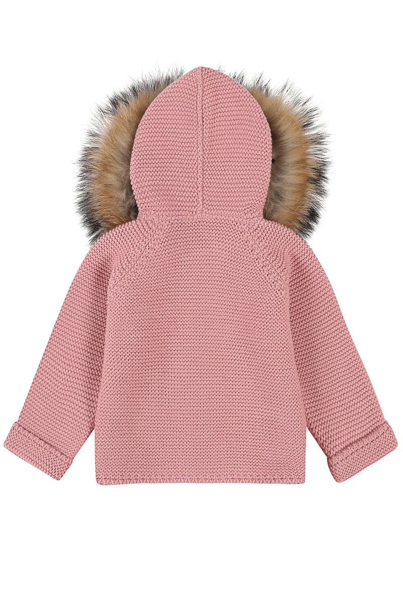 Bobble Babies knitted jacket in peony pink / natural hood trim