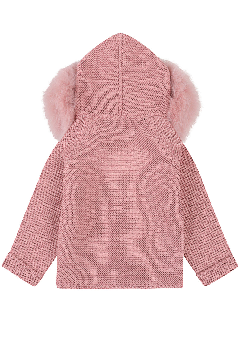 Bobble Babies knitted jacket in peony pink