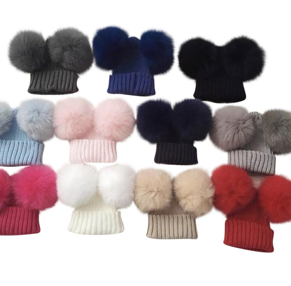 Luxe knit double pompom hat