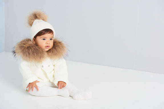 Knitted cardigan with fur trim hood - CREAM