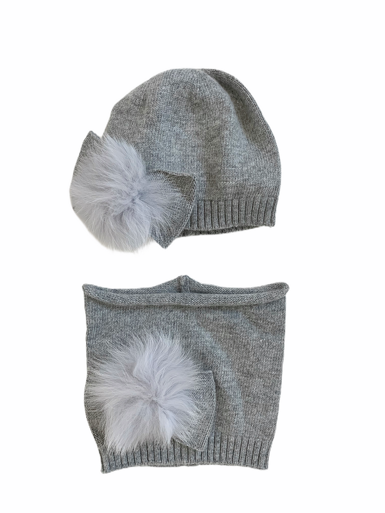 CELINE angora bow hat & neck warmer / VARIOUS COLOURS