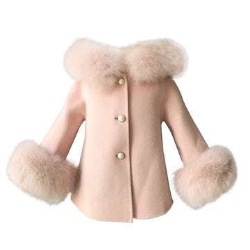 Cashmere Jacket with natural fur trim hood and cuffs - PINK
