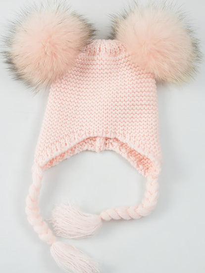 Baby Pink Double Pom Bomber Hat