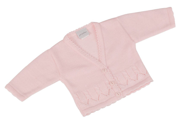 Pink knit scallop baby cardigan