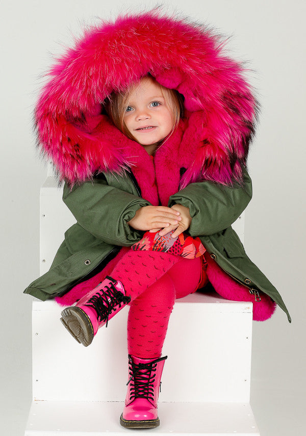 Bobble Babies Khaki Kids Parka coat with Hot Pink Hood and Lining