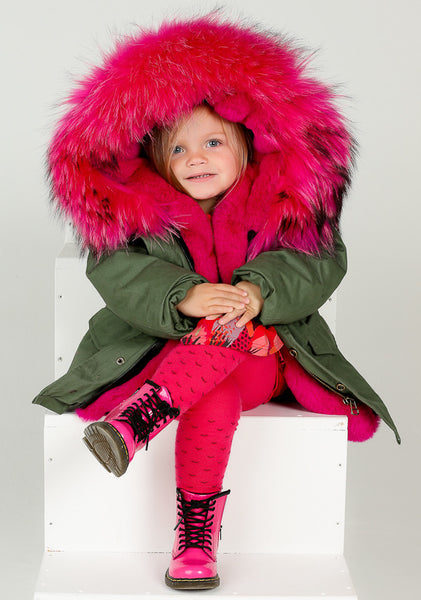 Children Parka Coat Jacket With Hot Pink Fur Hood