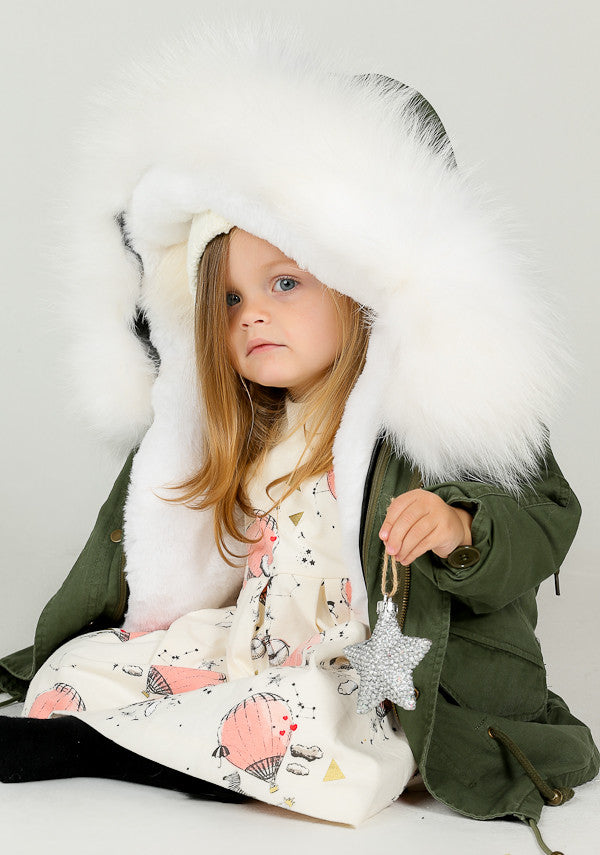 Bobble Babies Kids Parka coat with Cream Hood and Lining