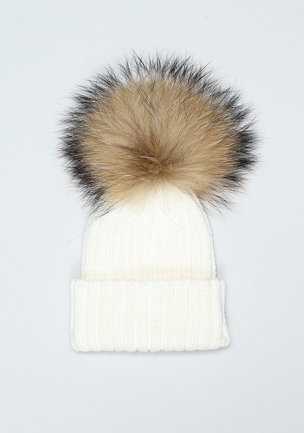 Baby Children cream hat with fur pom pom- Bobble Babies – Bobblebabies bfa96ea971d