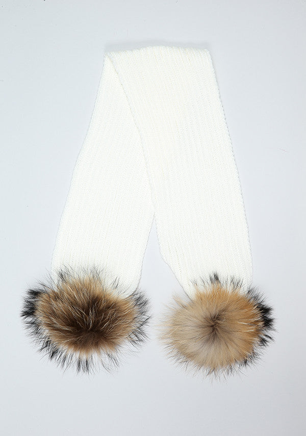 Winter White Double Pom Pom Scarf