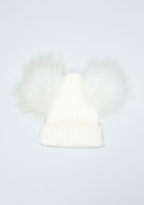 Winter White Double PomPom Hat