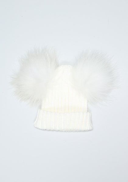 Cream Double PomPom Hat