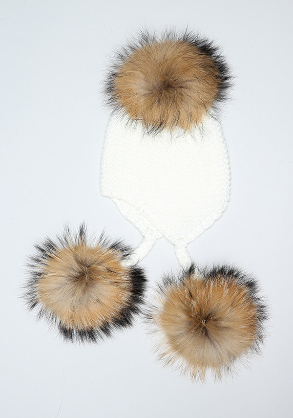 Winter White Triple Pom Pom hat