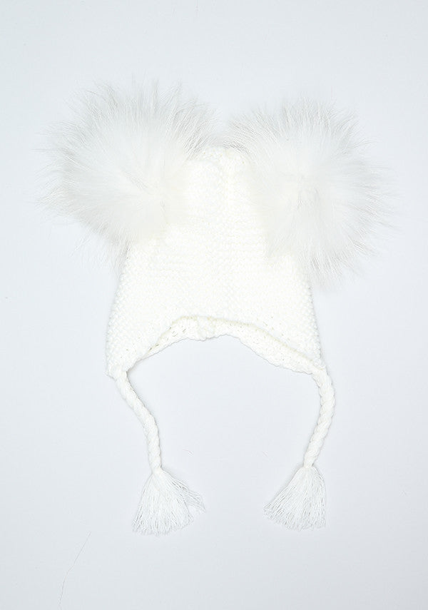 Winter White Double Pom Bomber Hat