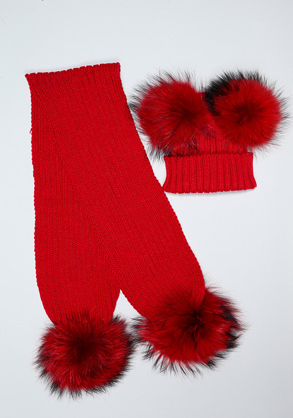 Red Double Hat & Scarf Set