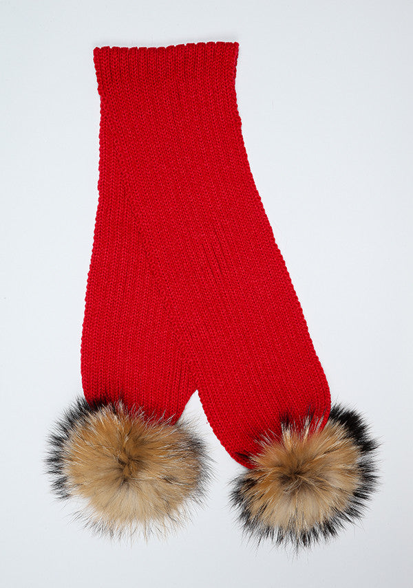 Red Double Pom Pom Scarf