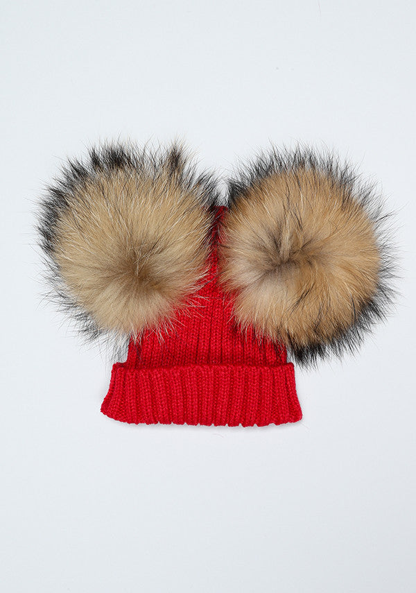 Red Double PomPom Hat