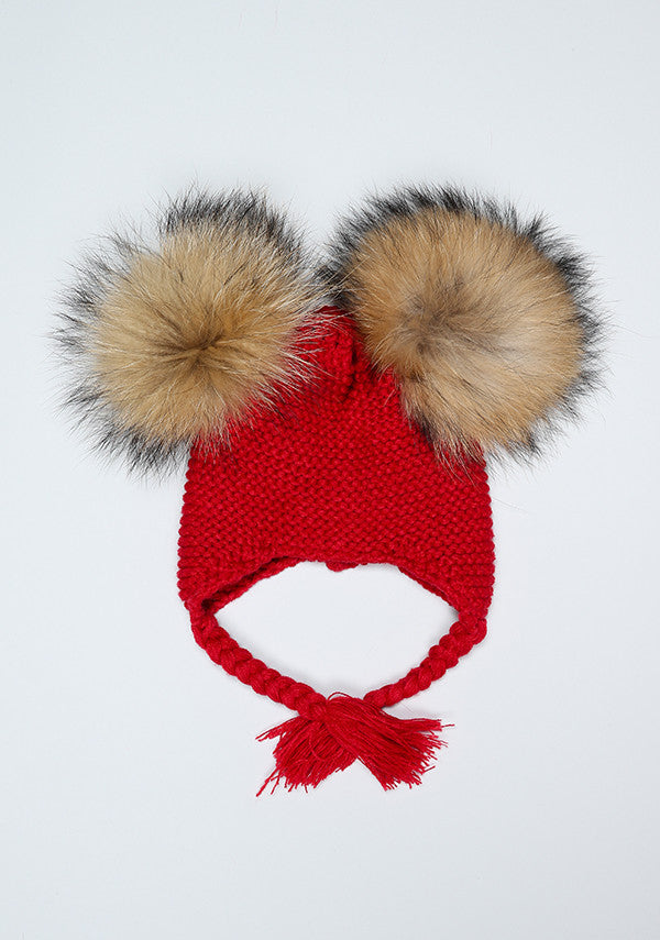 Red Double Pom Bomber Hat
