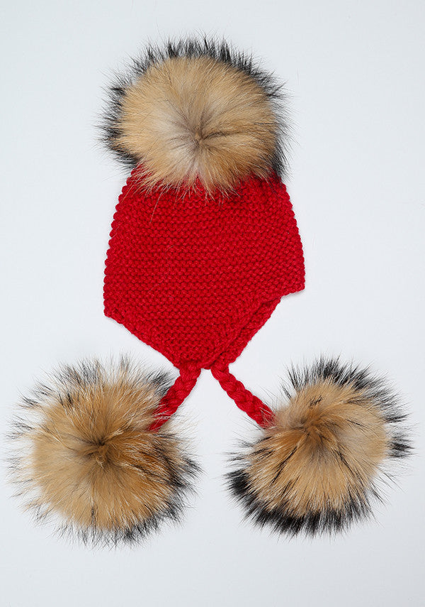 Red Triple Pom Pom hat