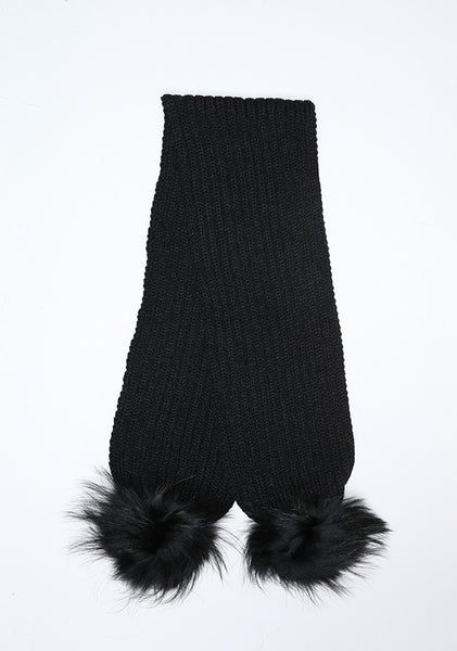 Black Double Pom Pom Scarf