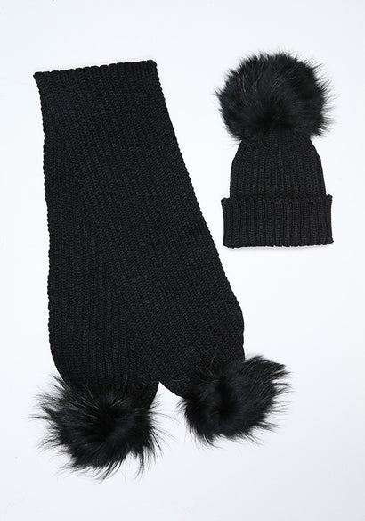 Black Hat & Scarf Set