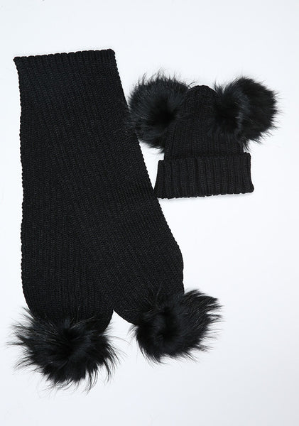 Black Double Hat & Scarf Set