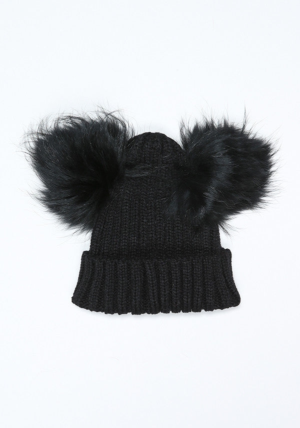 Baby Children black hat with double fur pom pom- Bobble Babies ... 3a2473e9af0