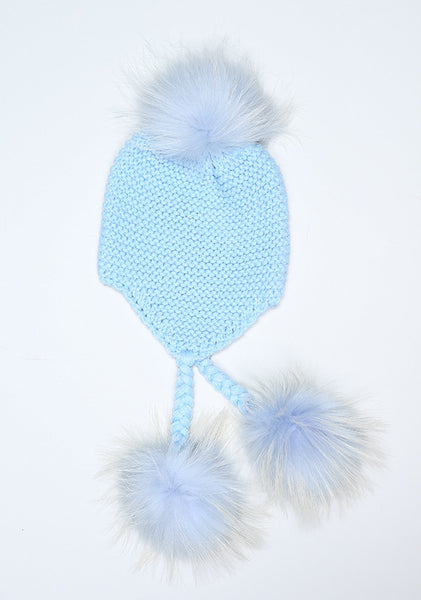 Baby Blue Triple Pom Pom hat