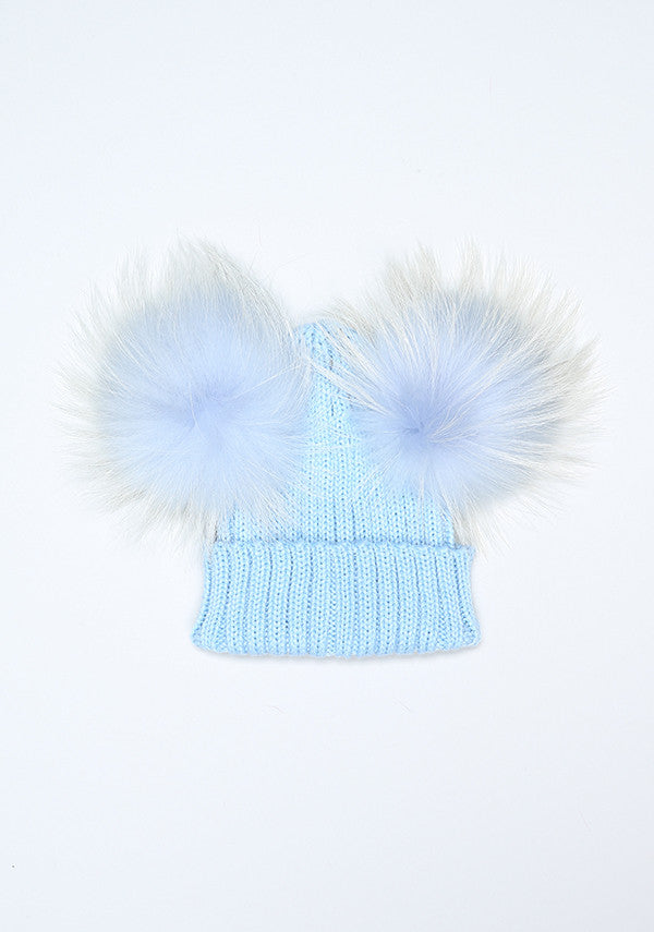 Baby Blue Double PomPom Hat