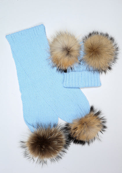 Baby Blue Double Hat & Scarf Set