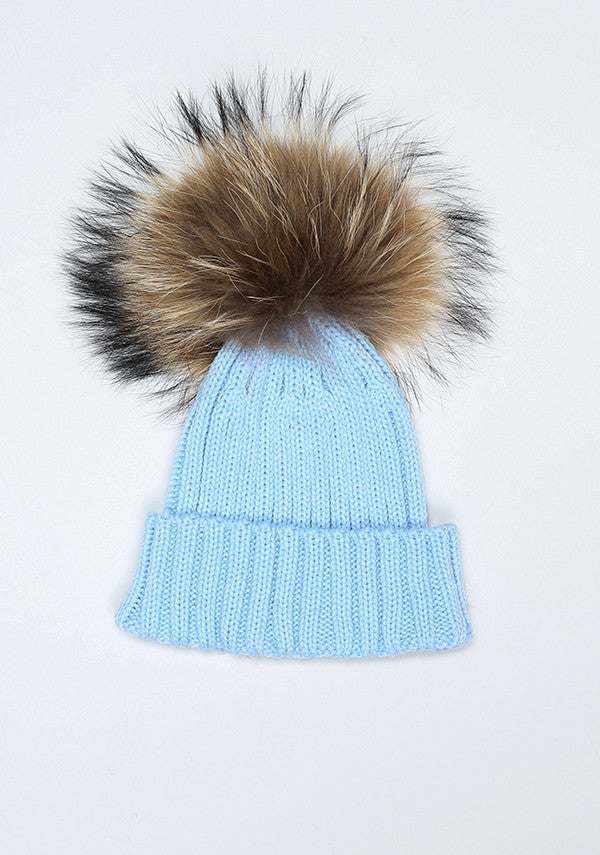 Baby Children Blue Hat With Fur Pom Pom Bobble Babies