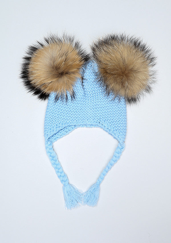 Baby Blue Double Pom Bomber Hat