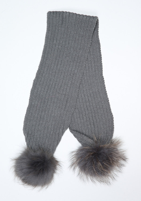 Dark Grey Double Pom Pom Scarf