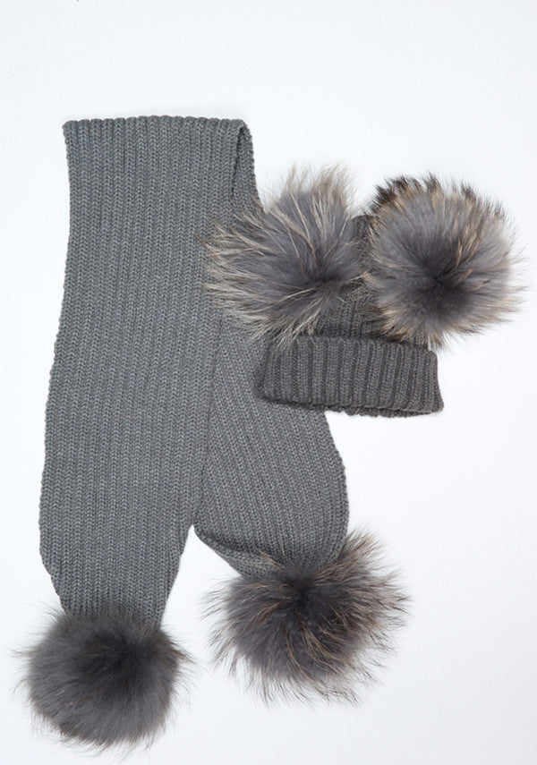 Dark Grey Double Hat & Scarf Set