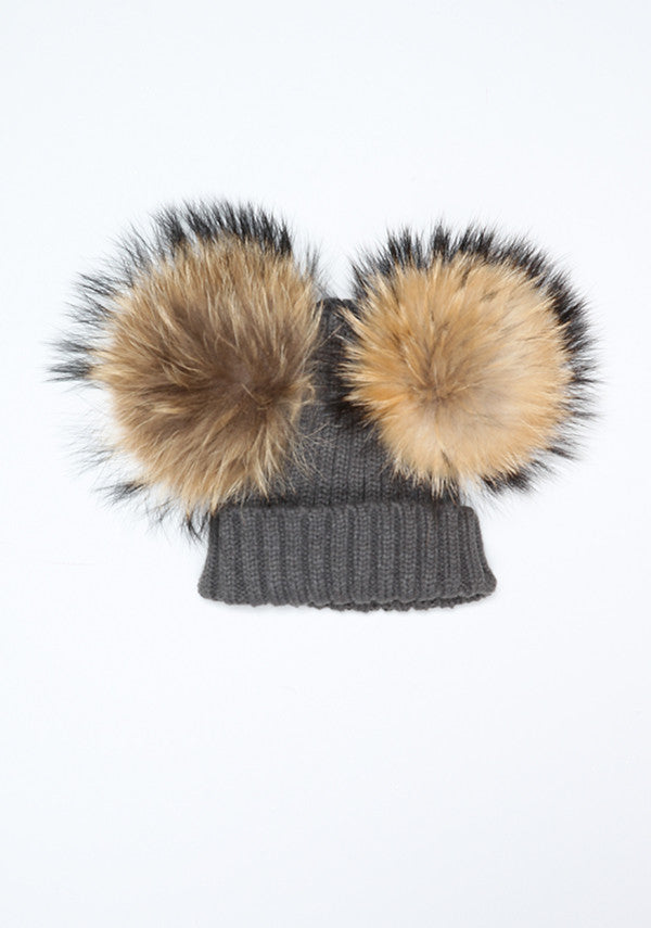 Dark Grey Double PomPom Hat
