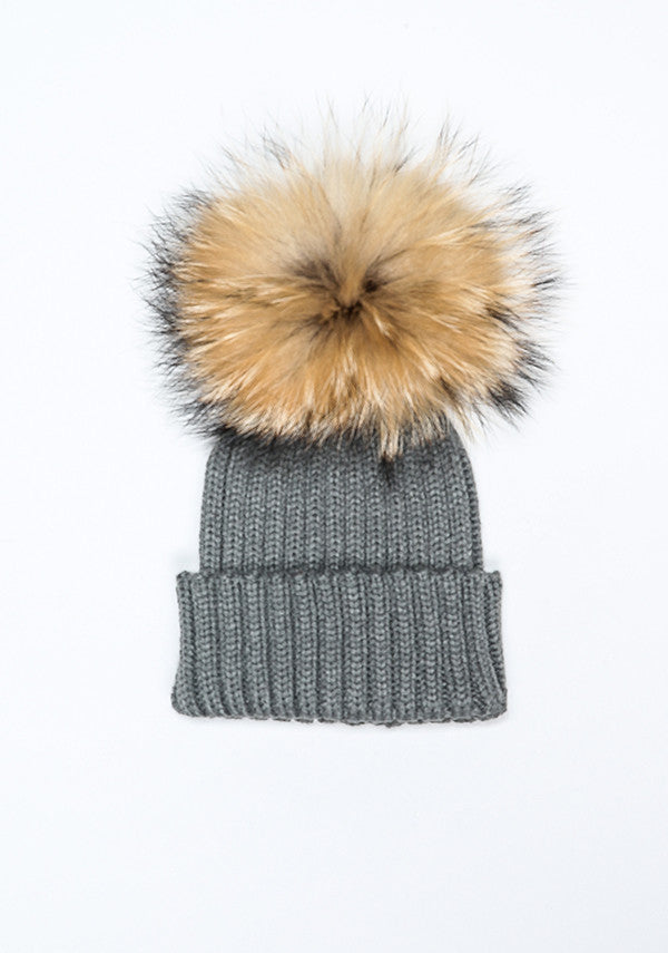 Baby Children dark grey hat with fur pom pom- Bobble Babies ... bf4961a5b26