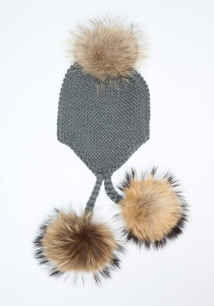 Dark Grey Triple Pom Pom hat