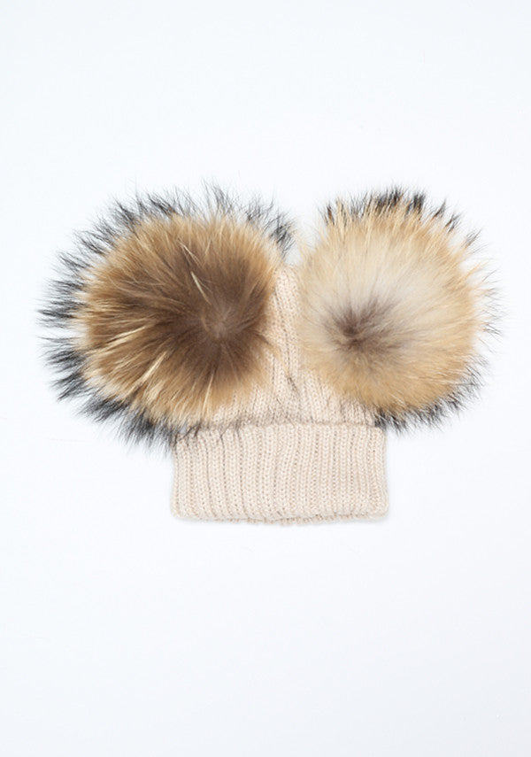 Baby Children beige hat with double fur pom pom- Bobble Babies ... 580a7b60b82