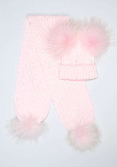 Candy Pink Double Hat & Scarf Set