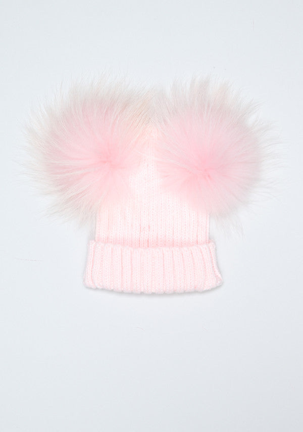 9ad81bdf3f5 Baby Children pink hat with double fur pom pom- Bobble Babies ...