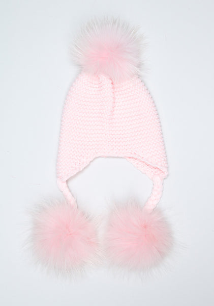Candy Pink Triple Pom Pom hat