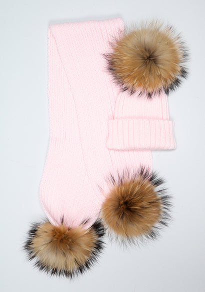 Candy Pink Hat & Scarf Set