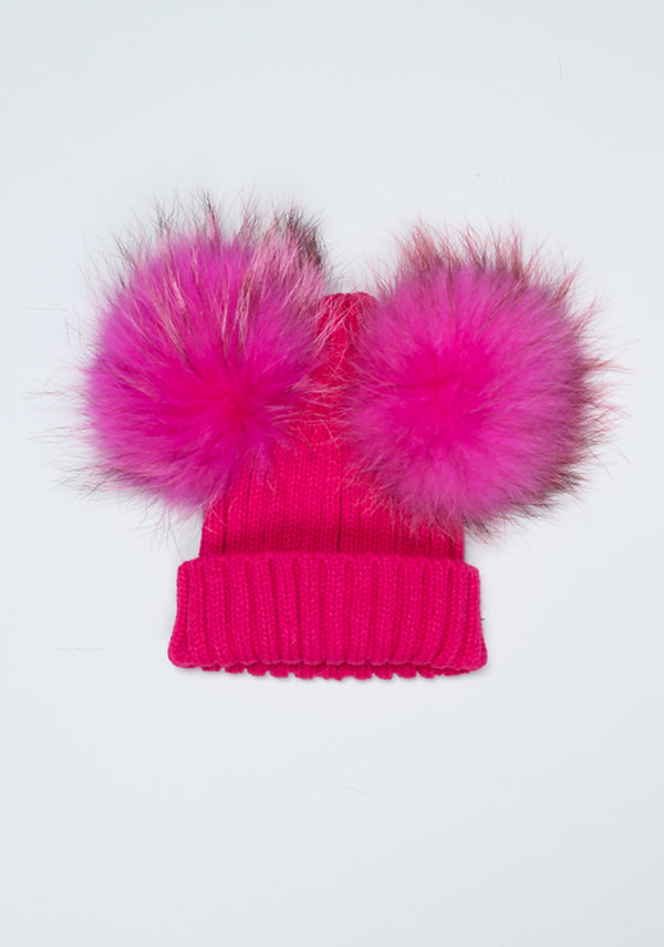 Hot Pink Double PomPom Hat