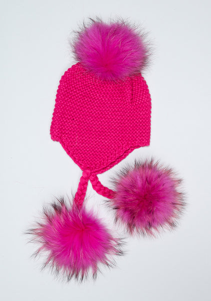 Rose Pink Triple Pom Pom hat