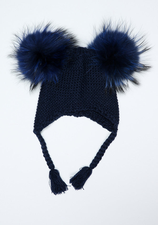 7ffe5b309e6 Baby Children blue bomber hat with double fur pom pom- Bobble Babies ...