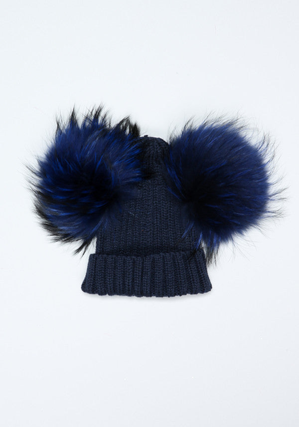 Navy Blue Double PomPom Hat