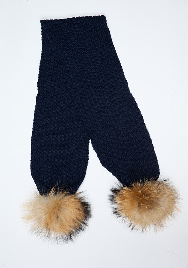 Navy Blue Double Pom Pom Scarf
