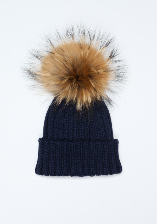339a188f5e7 Baby Children navy blue hat with fur pom pom- Bobble Babies ...