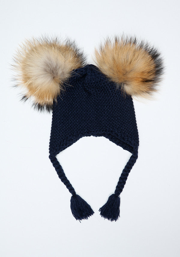 Navy Blue Double Pom Bomber Hat