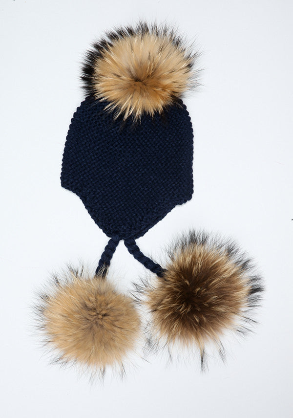 Navy Blue Triple Pom Pom hat