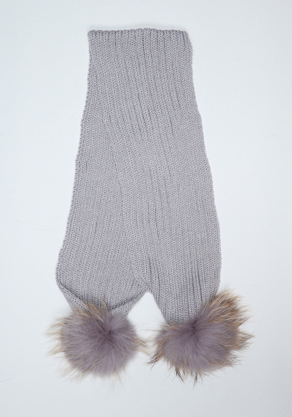 Light Grey Double Pom Pom Scarf
